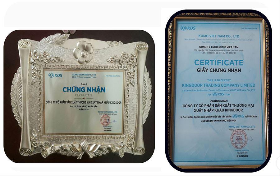 bằng chứng nhận đại lý bán hàng xuất sắc năm 2019 do công ty tnhh kumo trao tặng
